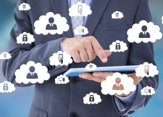 man with cloud hr software